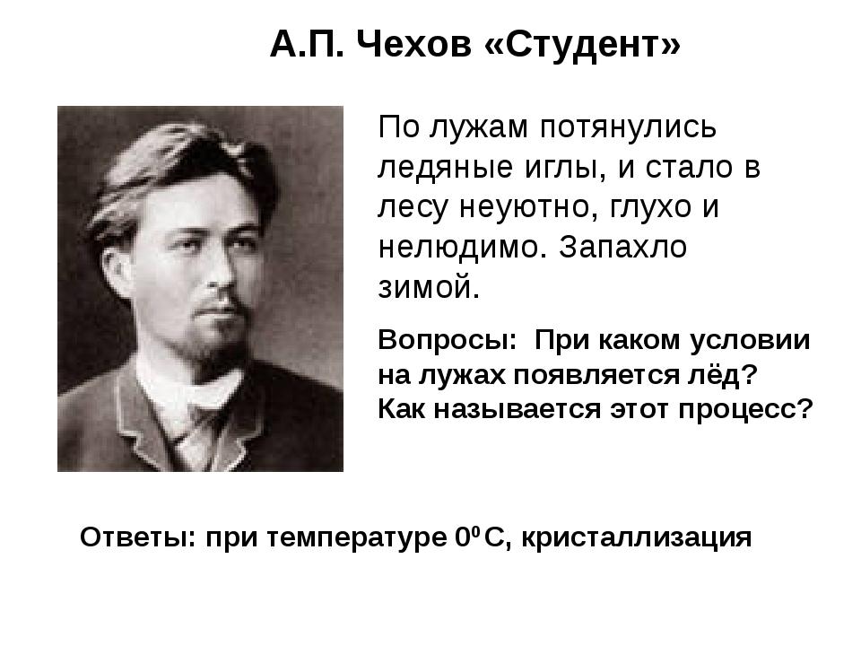 А.П. Чехов «Студент» По лужам потянулись ледяные иглы, и стало в лесу неуютно...