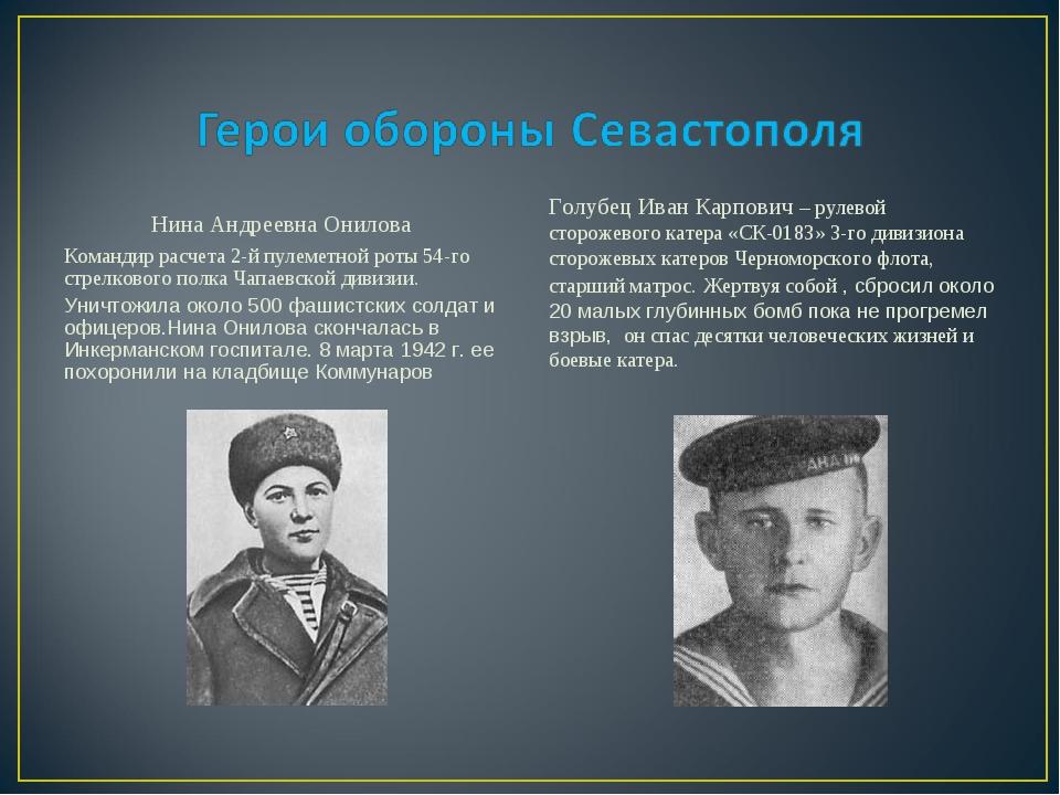 Нина Андреевна Онилова Командир расчета 2-й пулеметной роты 54-го стрелковог...