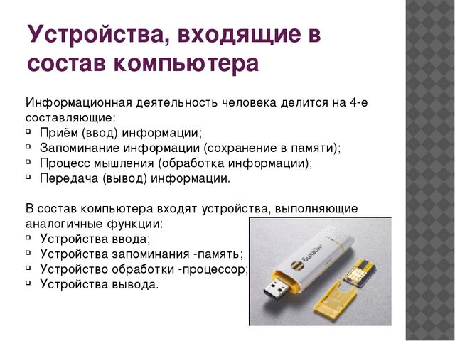 Устройства, входящие в состав компьютера Информационная деятельность человека...