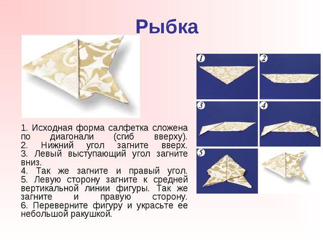 Рыбка 1. Исходная форма салфетка сложена по диагонали (сгиб вверху). 2. Нижн...