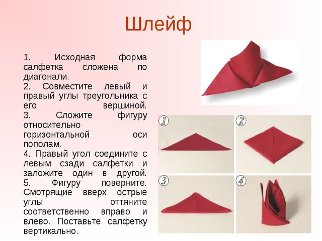 Шлейф 1. Исходная форма салфетка сложена по диагонали. 2. Совместите левый и...