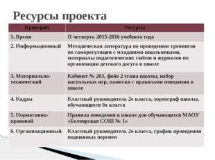 Ресурсы проекта Критерии Ресурсы 1. Время IIчетверть 2015-2016 учебного года