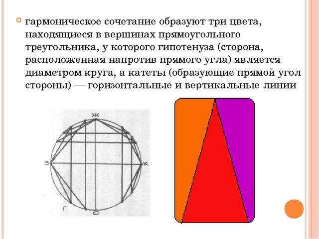 гармоническое сочетание образуют три цвета, находящиеся в вершинах прямоуголь...