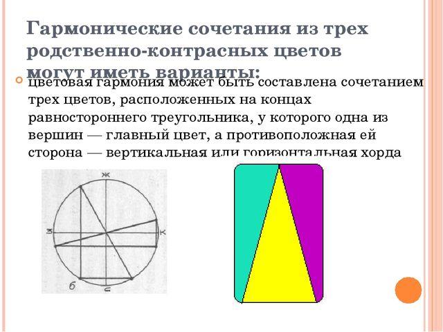 Гармонические сочетания из трех родственно-контрасных цветов могут иметь вари...