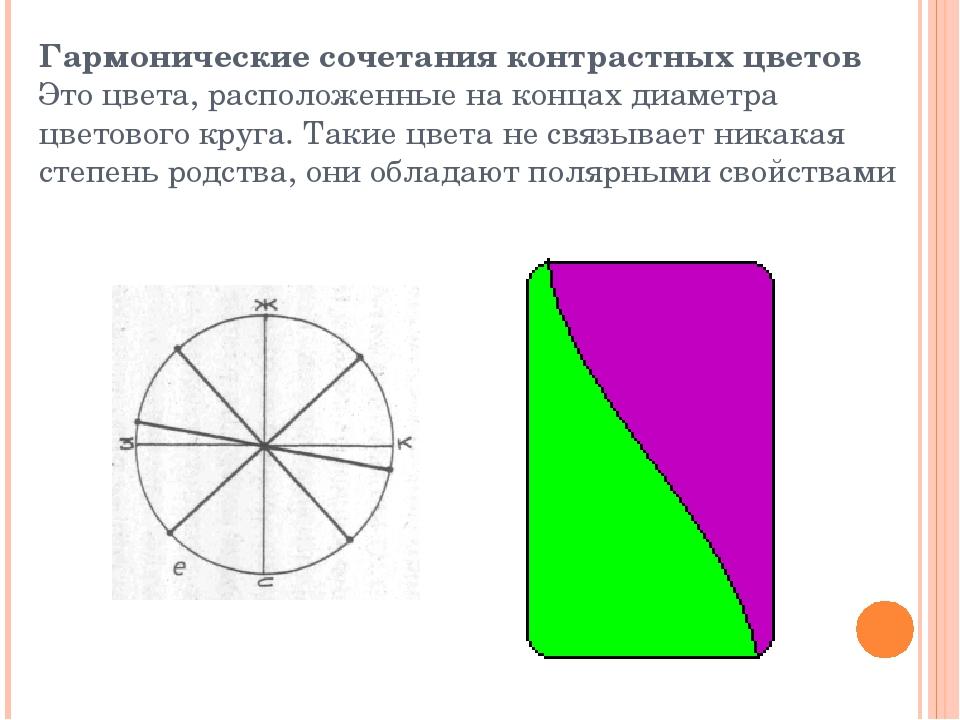 Гармонические сочетания контрастных цветов Это цвета, расположенные на концах...
