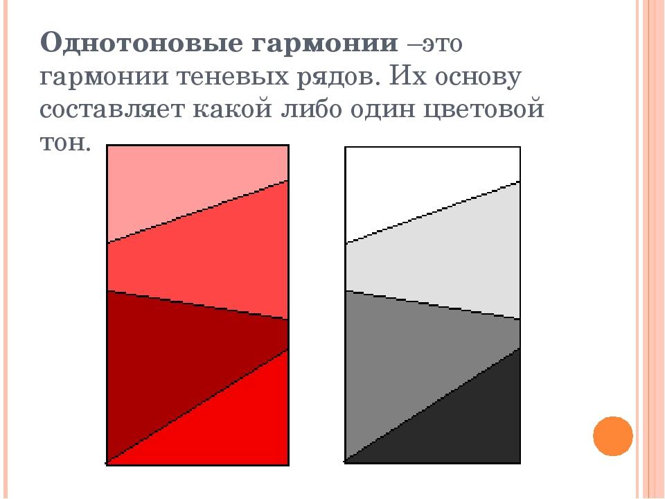 Однотоновые гармонии –это гармонии теневых рядов. Их основу составляет какой...