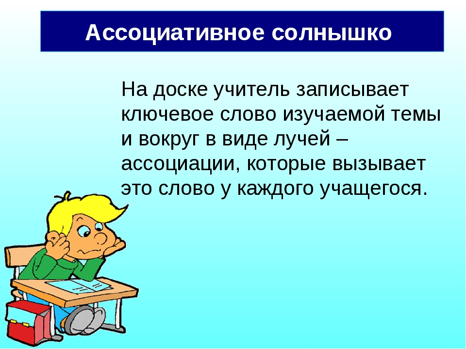 Ассоциативное солнышко На доске учитель записывает ключевое слово изучаемой т...