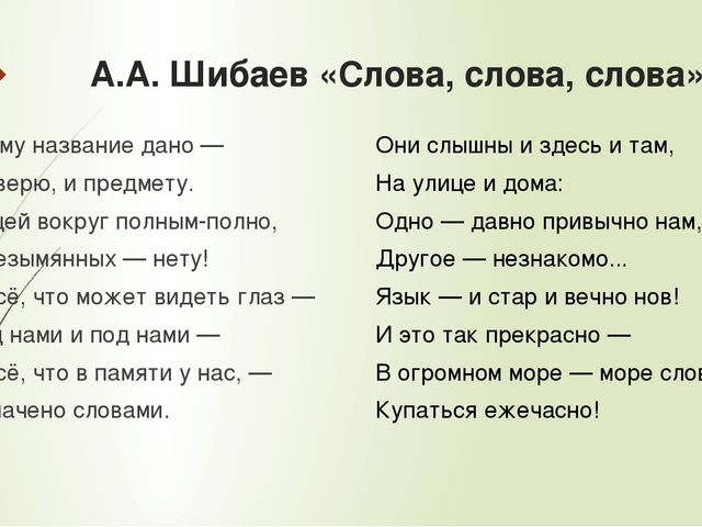 А.А. Шибаев «Слова, слова, слова» Всему название дано — И зверю, и предмету....