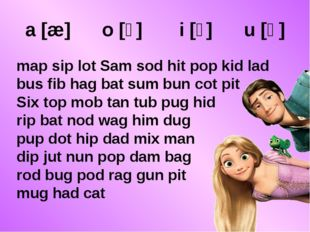 a [æ] o [ɔ] i [ɪ] u [ʌ] map sip lot Sam sod hit pop kid lad bus fib hag bat s
