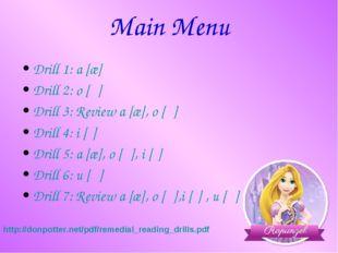 Main Menu Drill 1: a [æ] Drill 2: o [ɔ] Drill 3: Review a [æ], o [ɔ] Drill 4: