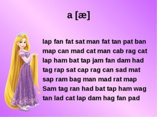 a [æ] lap fan fat sat man fat tan pat ban map can mad cat man cab rag cat lap