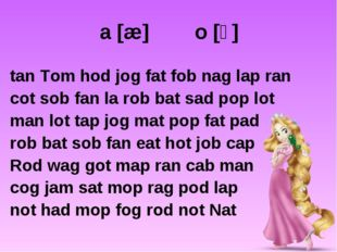 a [æ] o [ɔ] tan Tom hod jog fat fob nag lap ran cot sob fan la rob bat sad po