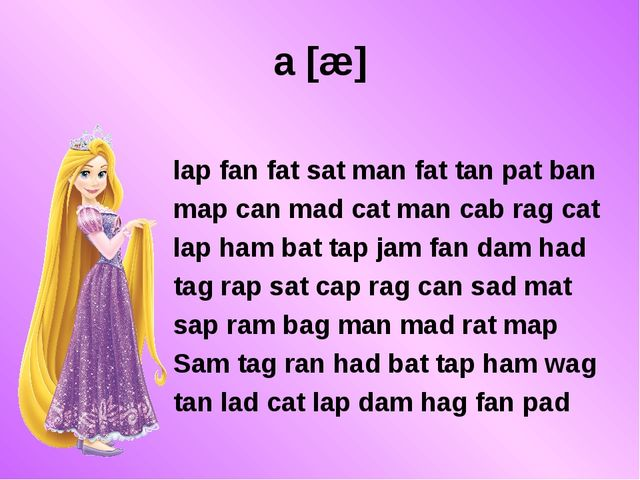 a [æ] lap fan fat sat man fat tan pat ban map can mad cat man cab rag cat lap...