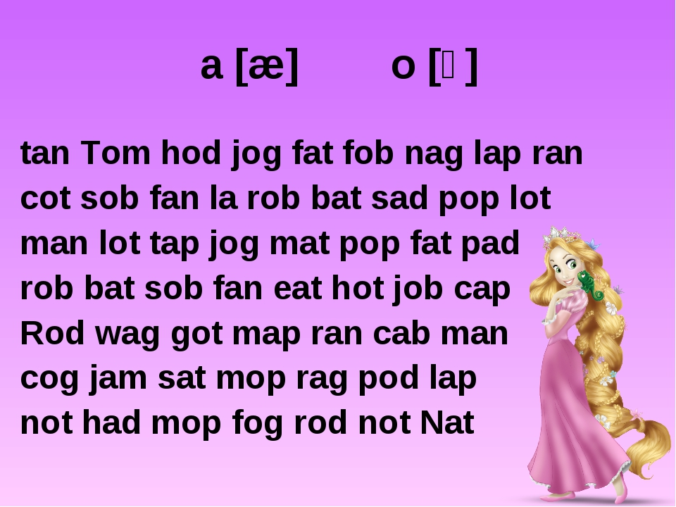 a [æ] o [ɔ] tan Tom hod jog fat fob nag lap ran cot sob fan la rob bat sad po...