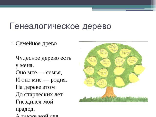 Генеалогическое дерево Семейное древо Чудесное дерево есть у меня. Оно мне...