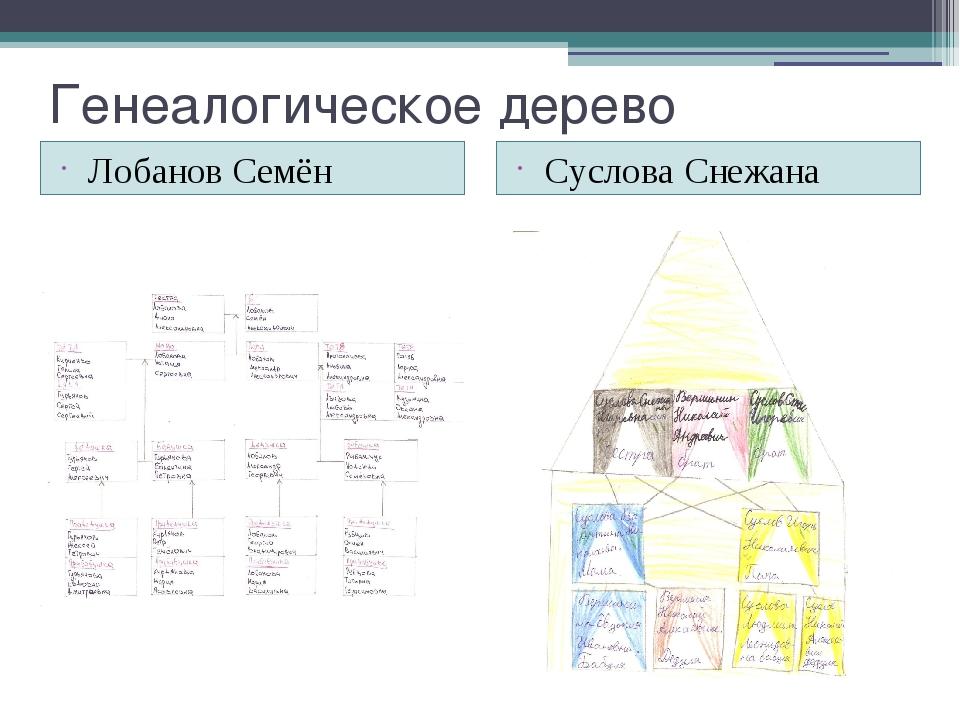 Генеалогическое дерево Лобанов Семён Суслова Снежана