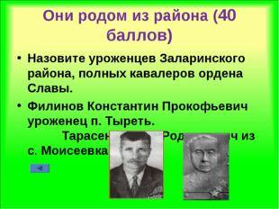 Они родом из района (40 баллов) Назовите уроженцев Заларинского района, полны