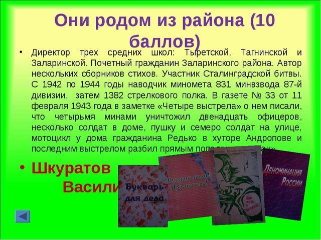 Они родом из района (10 баллов) Директор трех средних школ: Тыретской, Тагнин...