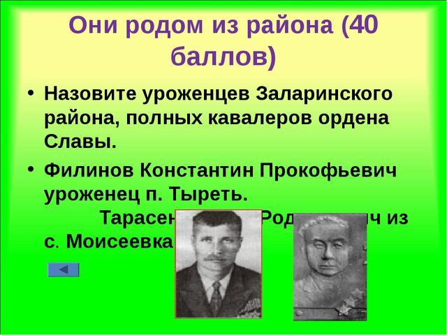 Они родом из района (40 баллов) Назовите уроженцев Заларинского района, полны...