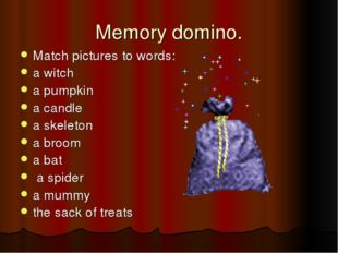 Memory domino. Match pictures to words: a witch a pumpkin a candle a skeleton