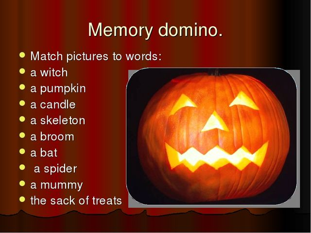 Memory domino. Match pictures to words: a witch a pumpkin a candle a skeleton...