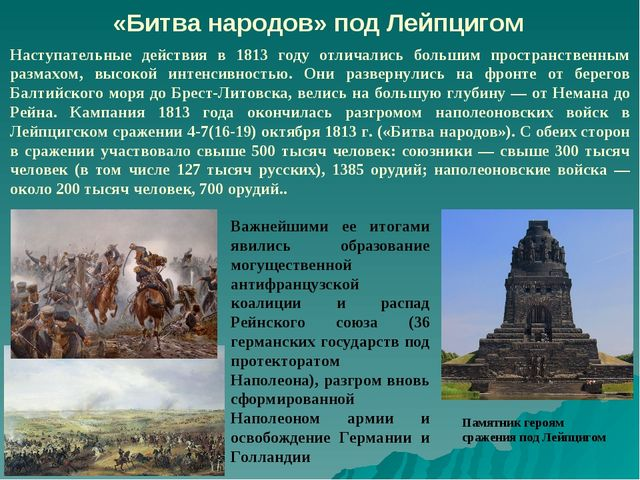 «Битва народов» под Лейпцигом Наступательные действия в 1813 году отличались...