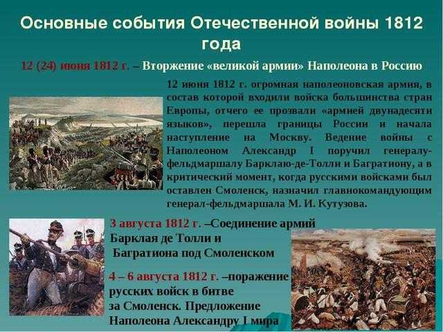 Основные события Отечественной войны 1812 года 12 (24) июня 1812 г. – Вторжен...