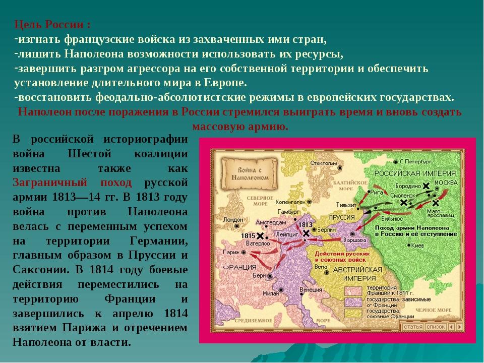 Цель России : изгнать французские войска из захваченных ими стран, лишить Нап...