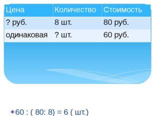 60 : ( 80: 8) = 6 ( шт.) Ответ : 6 наборов бумаги можно купить на 60 рублей.