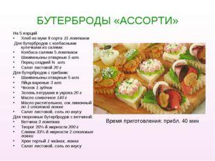 БУТЕРБРОДЫ «АССОРТИ» На 5 порций Хлеб из муки II сорта 15 ломтиков Для бутерб