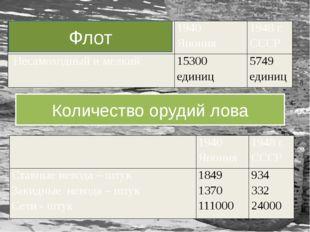 Количество орудий лова Флот  1940 Япония 1948 г. СССР Ставные невода – штук