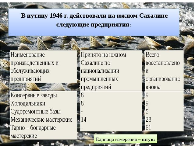 В путину 1946 г. действовали на южном Сахалине следующие предприятия: . Един...