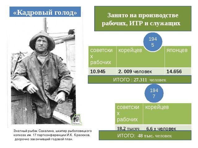 Знатный рыбак Сахалина, шкипер рыболовецкого колхоза им. 17 партконференции И...