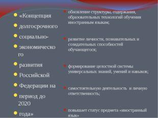 «Концепция долгосрочного социально- экономического развития Российской Федера