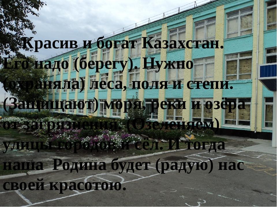 Красив и богат Казахстан. Его надо (берегу). Нужно (охраняла) леса, поля и с...