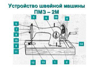 * Устройство швейной машины ПМЗ – 2М 1 5 2 3 4 6 7 8 9 15 11 12 13 10 14