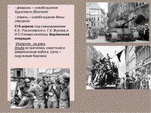 - февраль – освобождение Будапешта (Венгрия) - апрель – освобождение Вены (А