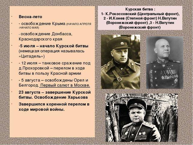 Курская битва : 1- К.Рокоссовский (Центральный фронт), 2 - И.Конев (Степной ф...