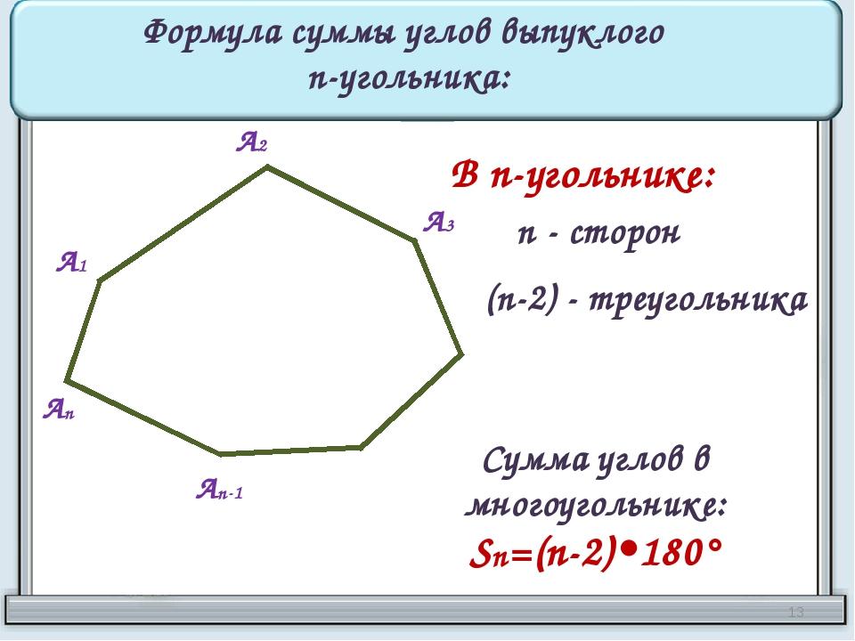 А1 А2 А3 Аn-1 Аn Формула суммы углов выпуклого n-угольника: В n-угольнике: n...