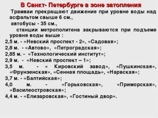 В Санкт- Петербурге в зоне затопления Трамваи прекращают движение при уровне