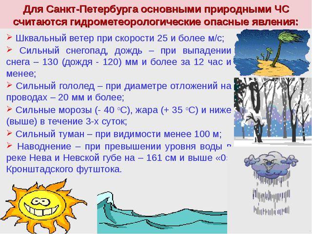 Для Санкт-Петербурга основными природными ЧС считаются гидрометеорологические...