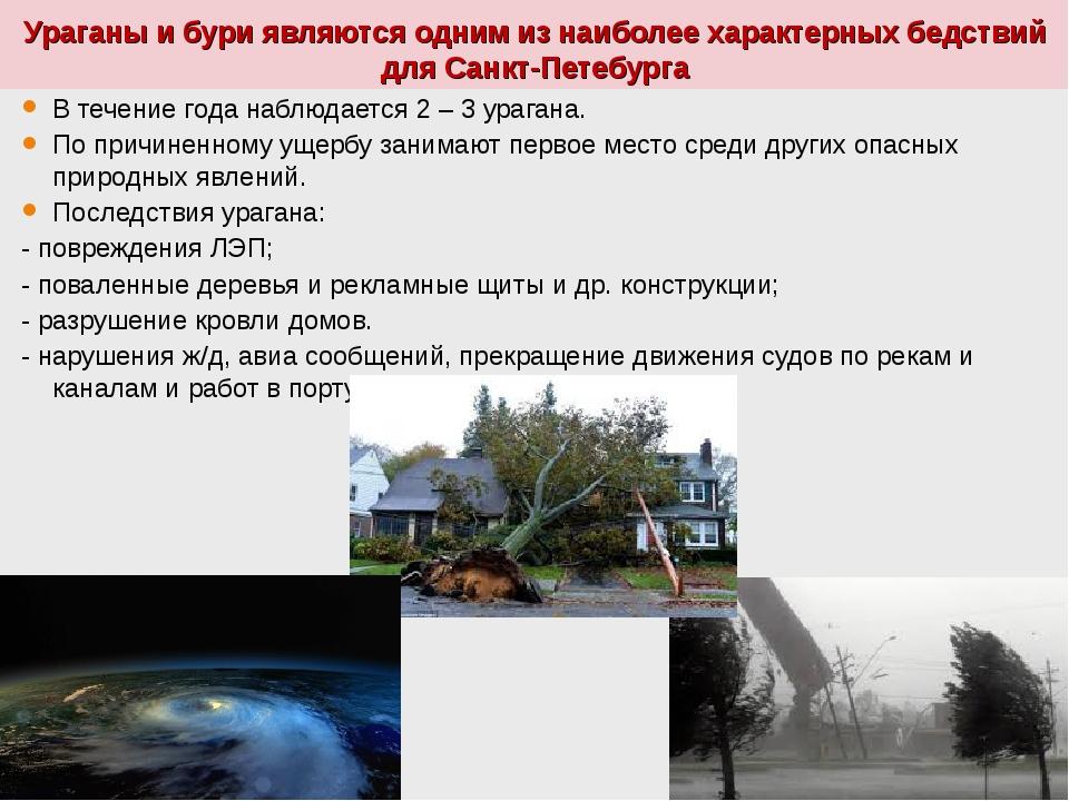 Ураганы и бури являются одним из наиболее характерных бедствий для Санкт-Пете...