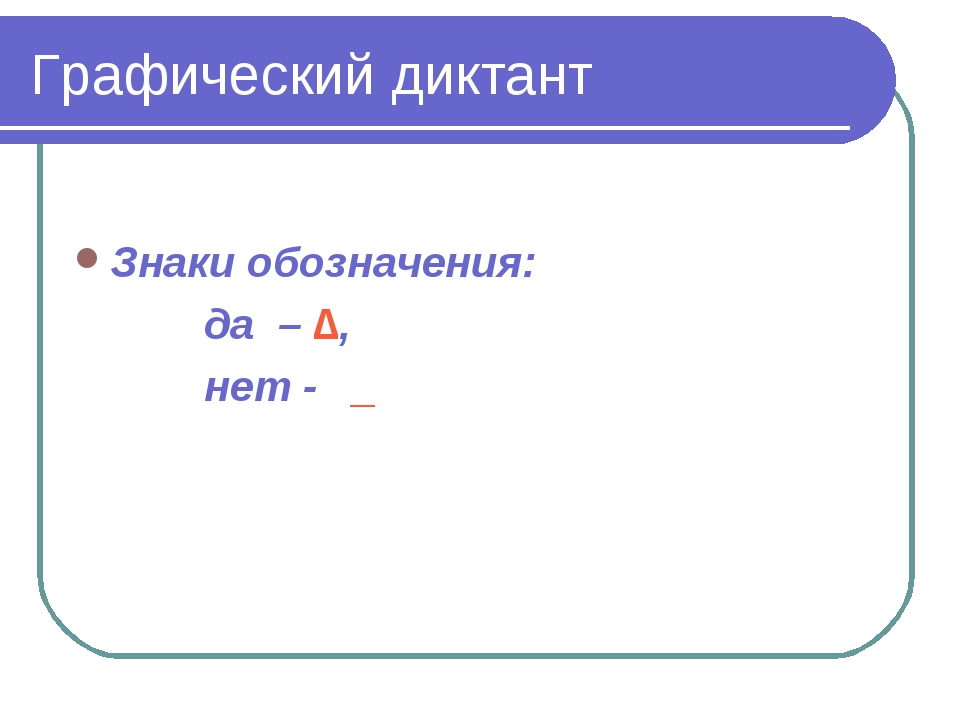 Графический диктант Знаки обозначения: да – ∆, нет - _
