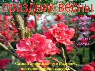 Самый любимый –это праздник цветения вишни сакуры. Япония будет жить, пока цв