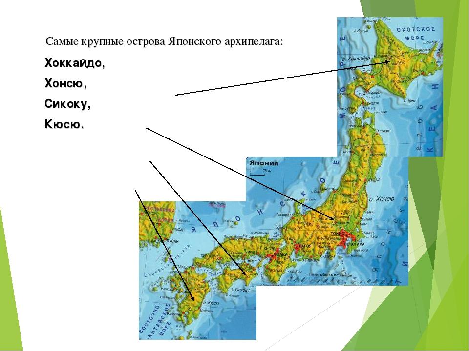 Самые крупные острова Японского архипелага: Хоккайдо, Хонсю, Сикоку, Кюсю.