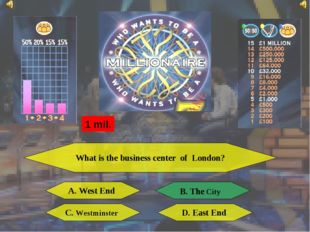 What is the business center of London? A. West End B. The City C. Westminster