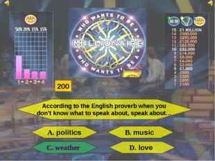 According to the English proverb when you don't know what to speak about, spe