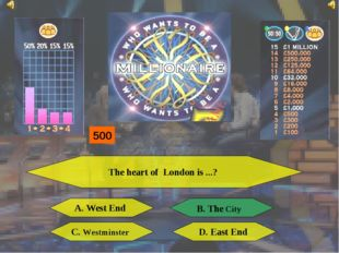 The heart of London is ...? A. West End B. The City C. Westminster D. East En