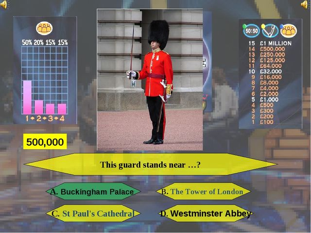 This guard stands near …? A. Buckingham Palace B. The Tower of London C. St P...