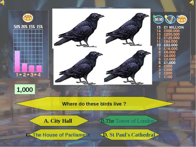 Where do these birds live ? A. City Hall B. The Tower of London C. The House...